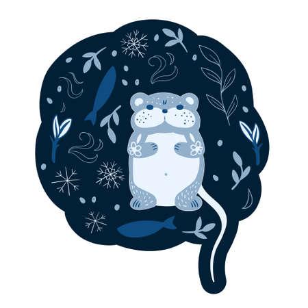 Vector Cute Cartoon character polar blue Lemming