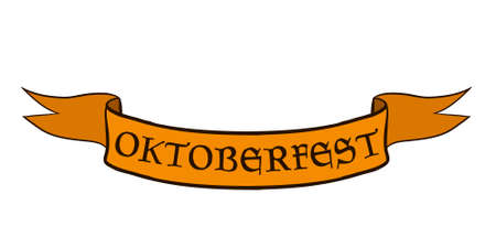 Oktoberfest orange color ribbon banner, Vector art Stock Illustratie