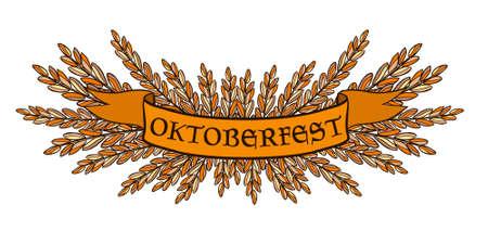 Oktoberfest orange ribbon with grasses vector art