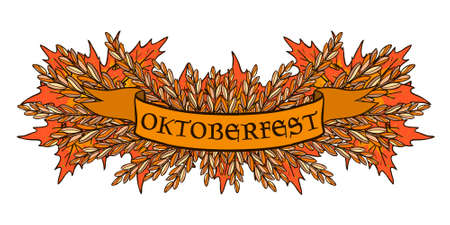 Oktoberfest vector with autumn leaves and grasses