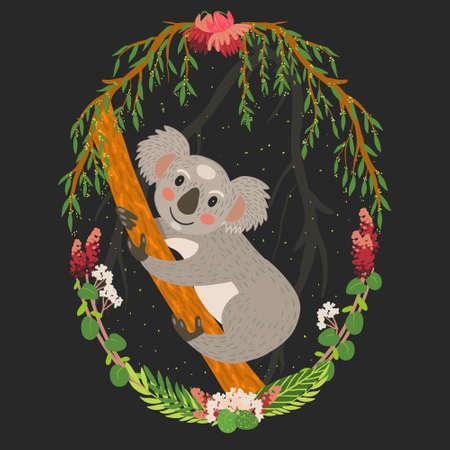 Cute gray koala on a tree vector art