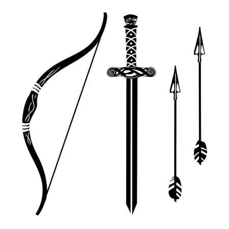Set weapons black silhouette bow, arrow, sword