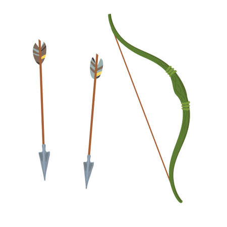 Vector Set weapons green bow and arrows