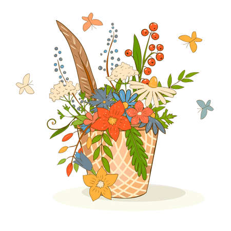 Vector art basket with a bright bouquet of flowers