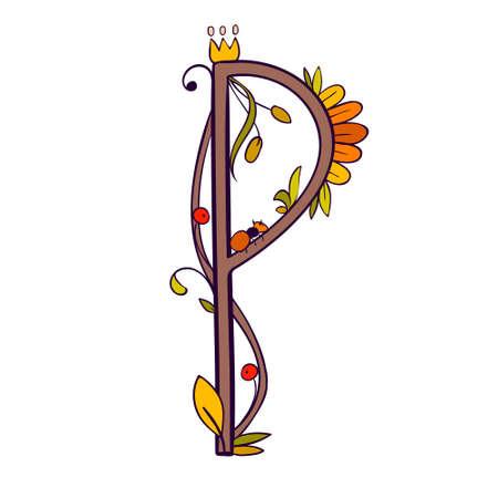 Vector Letter P with floral, berries. Summer font Ilustração