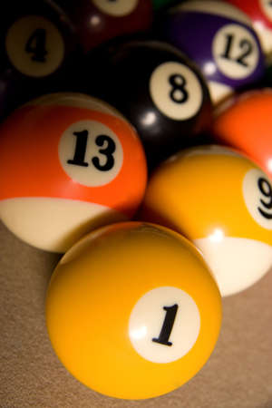 Fifteen balls over a billard table. Racked and ready to go! Banco de Imagens