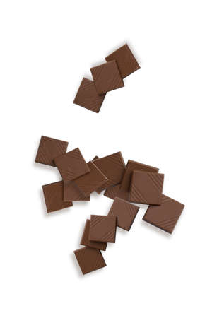 Chocolate to squares on white background