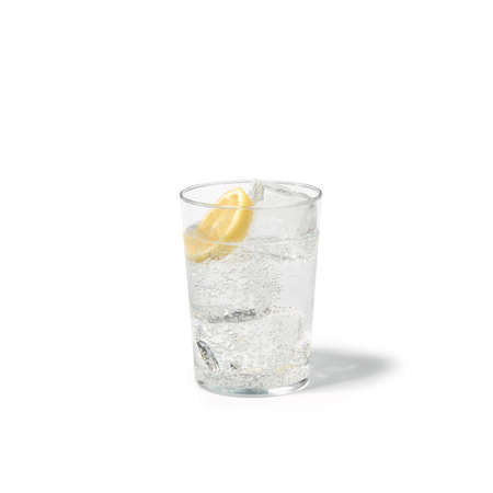 glass base with refreshing drink on white table 版權商用圖片