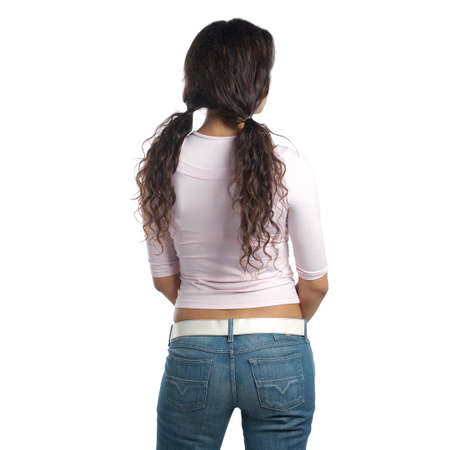 Back view of standing beautiful young woman. girl watching. Rear view people collection. rear view of the person. Isolated on white background