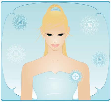 woman looking down: A vector illustration of pretty woman looking down, behind there s a nice frame with abstract flowers like snowflakes in winter