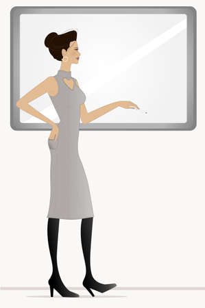 recitation: A vector illustration of pretty woman with white board    Teacher or business woman  Illustration