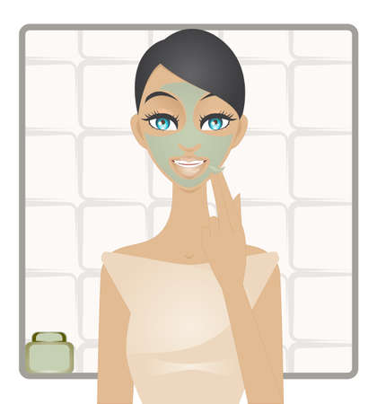 exfoliation: A illustration of young girl applying a green clay mask on her face  Illustration