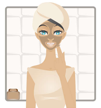 exfoliation: A illustration of young girl applying a mud mask on her face