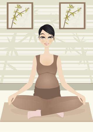 Mujer embarazada en pose de yoga Una ilustración de la mujer embarazada en busca de relajación con yoga