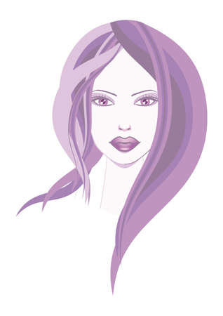 Style Violet   A  illustration of beautiful face in a design style and abstract, the color purple dominates the composition