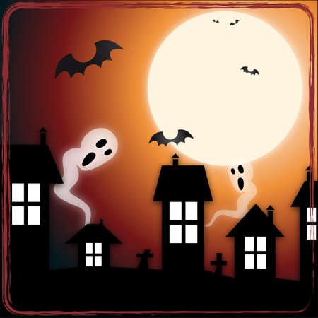 Ghosts in town   A illustration of ghosts and bats appearing in the night city Stock Vector - 15121838
