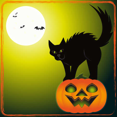 Scary cat - An illustration of scary cat on a pumpkin Stock Vector - 15312465
