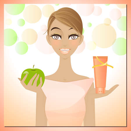 slimming: Beauty and slimming cream - An illustration of beautiful woman showing an apple