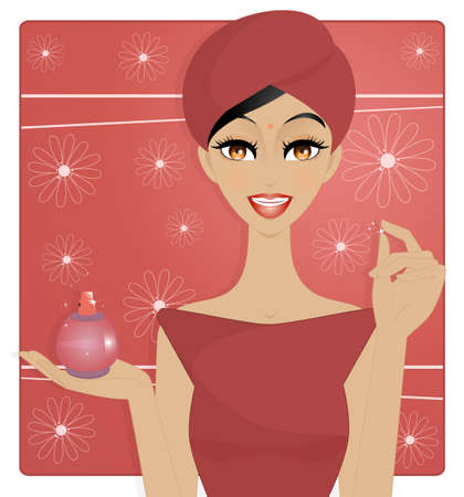 Beauty sortie de bain - An illustration of beautiful oriental woman out of the bath, showing a perfume bottle ready to use  Use only simple gradients and transparencies  Vector