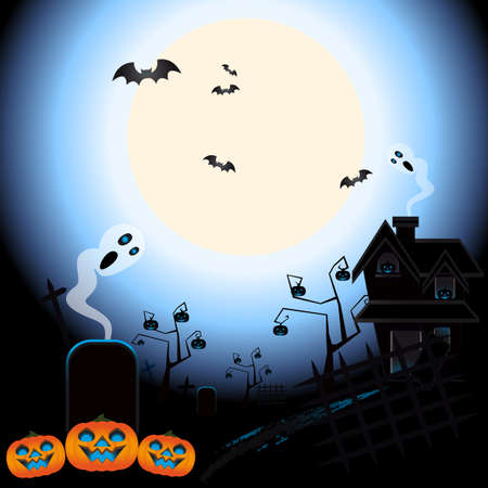 illustration of ghosts and bats for halloween in a graveyard Vector