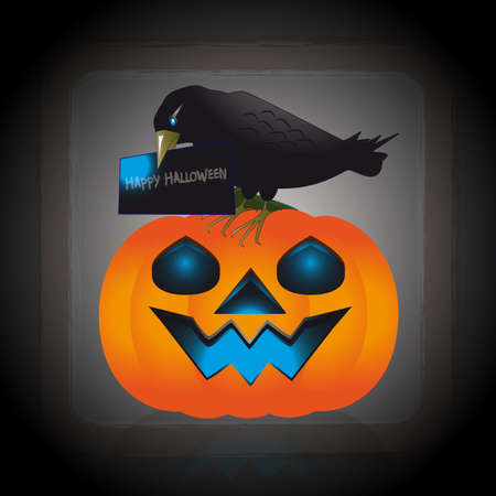 october 31: An illustration of raven with blue eyes perched on a pumpkin