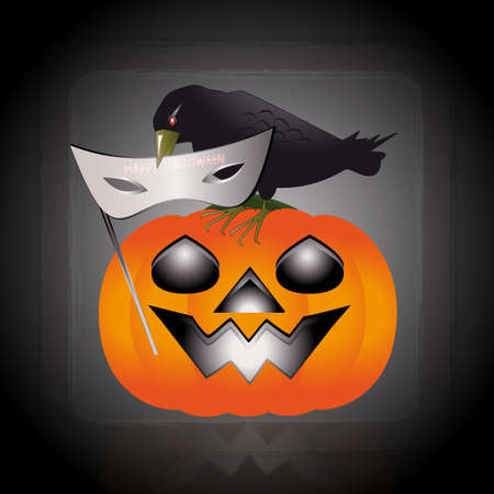 An illustration of raven perched on a pumpkin Stock Vector - 15687296