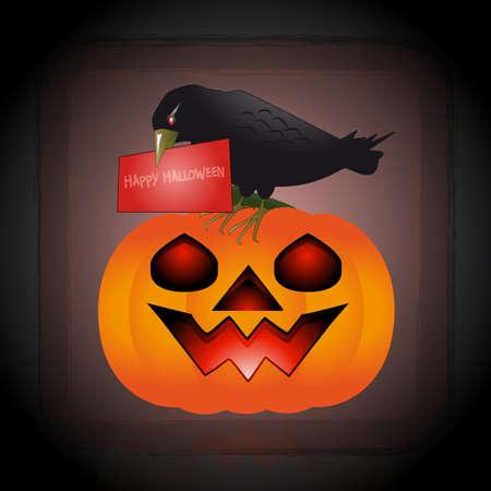 october 31: An illustration of raven perched on a pumpkin Illustration