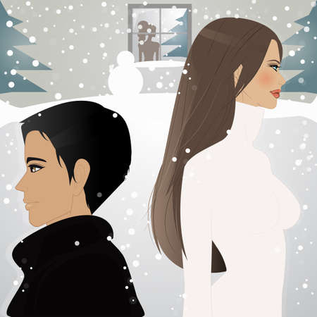 An illustration of beautiful woman and man walking under the snow  Vector
