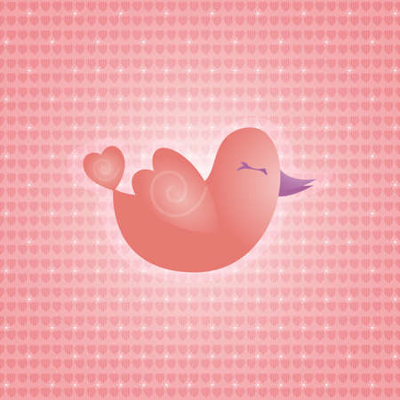 Messenger of love - An illustration of a pink little bird, messenger of love Vector