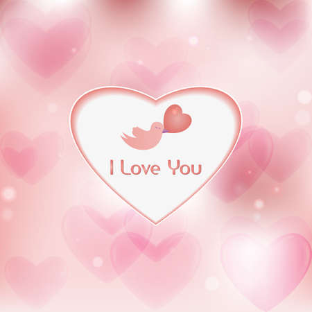 february 14th: I Love You - An illustratrion of a little bird with a message of love for Valentine s Day