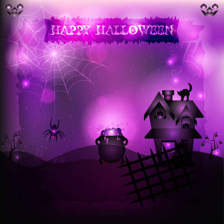 lair: Witchcraft halloween - An illustration of a mysterious spot the lair of a witch in a supernatural light background