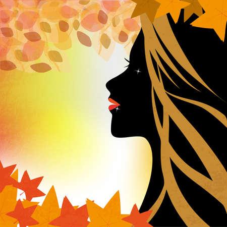 Vrouw in de herfst - Een illustratie van een dames gezicht in profiel met een achtergrond van de herfst bladeren
