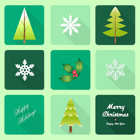 merrychristmas: Christmas trees with long shadow effect - An illustration of different icons with abstract trees for Christmas