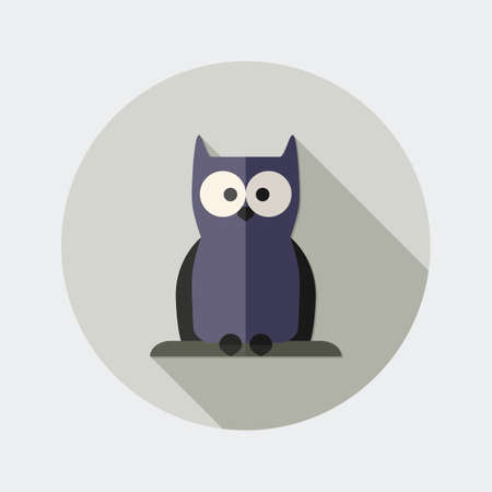october 31: Flat owl design icon with long shadow - An illustration of dark owl icon flat design style for Halloween Illustration