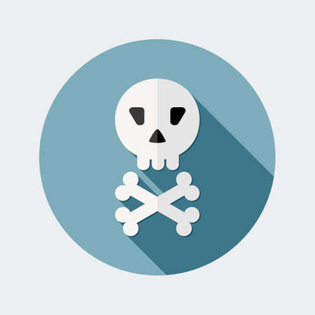 october 31: Flat skull design icon with long shadow - An illustration of skull and bones icon flat design style for Halloween