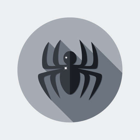 october 31: Flat design icon spider with long shadow - An illustration of spider icon flat design style for Halloween
