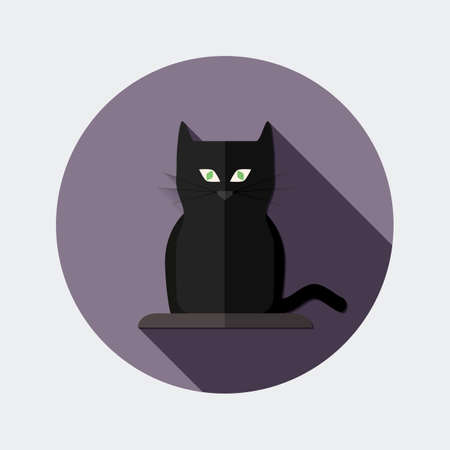 superstition: Flat design icon black cat with long shadow - An illustration of black cat icon flat design style for Halloween