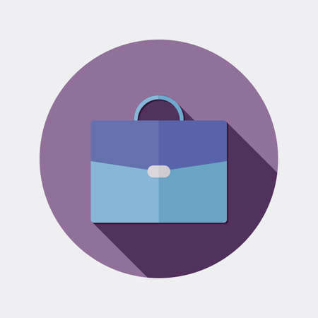 suitcase: Flat design office business suitcase icon with long shadow