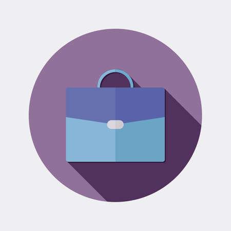 valigia: Piatto ufficio di progettazione business icon valigia con una lunga ombra Vettoriali