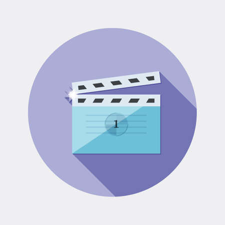 clap: Flat design cinema clap icon with long shadow