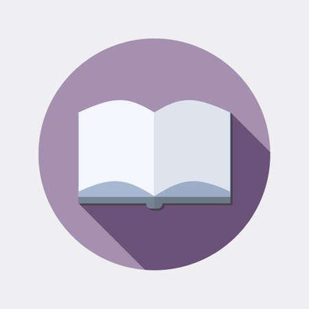 fable: Flat design education reading open book icon with long shadow