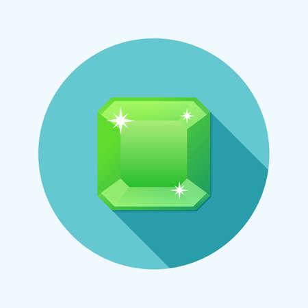 emerald gemstone: Flat design emerald icon with long shadow Illustration