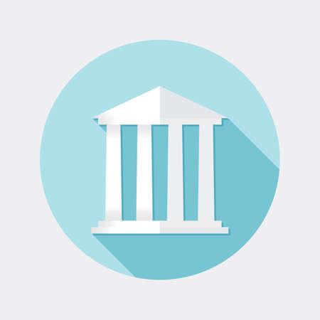 public services: Flat financial building design icon with long shadow Illustration