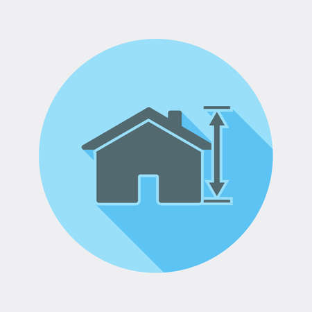 Flat design house and arrow icon with long shadow Ilustrace