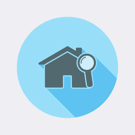 magnifying glass icon: Flat design house and magnifying glass icon with long shadow Illustration