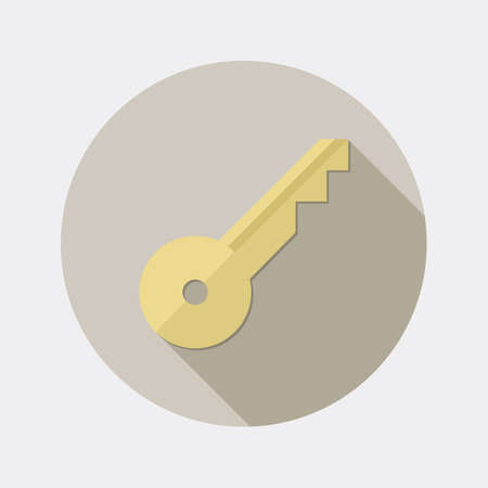 passwords: Flat key design icon with long shadow Illustration