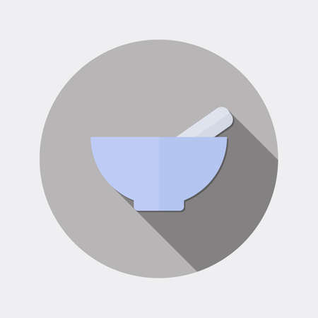 mortar and pestle: Flat design mortar and pestle icon with long shadow Illustration