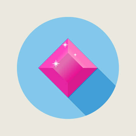 ruby gemstone: Flat design ruby icon with long shadow