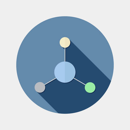 applied: Flat design science and chemistry molecule icon with long shadow