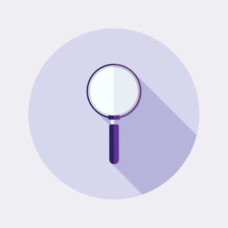 magnification icon: Flat design magnifying glass search icon with long shadow